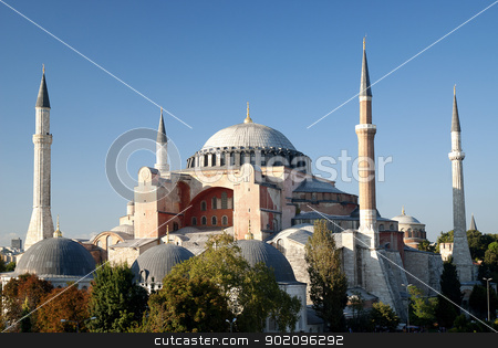 hagia sophia mosque in instanbul turkey stock photo, hagia sophia mosque exterior in istanbul turkey by travelphotography