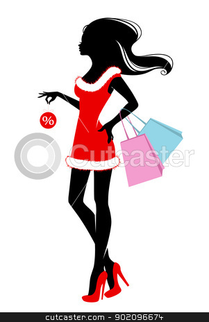 Shopping girls stock vector clipart, Vector illustration of Shopping girls by SonneOn