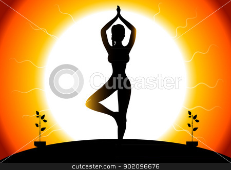 Beautiful woman doing youga exercises stock vector clipart, Vector illustration of Beautiful woman doing youga exercises by SonneOn