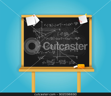 Black school boards on blue background stock vector clipart, Vector illustration of Black school boards on blue background by SonneOn