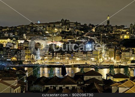 porto riverside by night in portugal stock photo, porto riverside by night in portugal by travelphotography