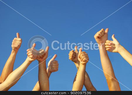 hands stock photo, Group of people hands in the sky by Vitaliy Pakhnyushchyy