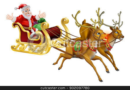 Santa Christmas Sled stock vector clipart, Illustration of Santa Claus in his Christmas sled being pulled by red nosed reindeer  by Christos Georghiou