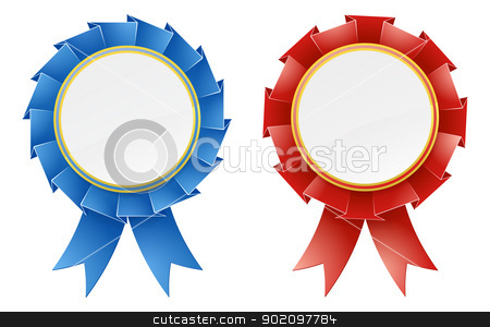 Red and blue rosettes stock vector clipart, Red and blue rosette medal award design elements with ribbons and blank copyspace in the center by Christos Georghiou