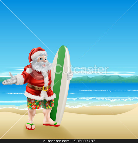 Surf Santa on the beach stock vector clipart, Summer Santa in beach wear, long board shorts or Bermuda shorts and flip-flop sandals, holding a surfboard on a sunny beach. by Christos Georghiou