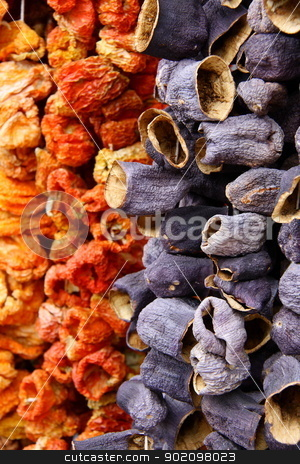 red dry peppers and eggplants on rope stock photo, red dry peppers and eggplants on rope for cooking, its made in Turkey and shops sell these in bazaars by melih turhanlar