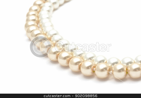 Beautiful pearl necklace stock photo, Beautiful pearl necklace closeup on white background by Ingvar Bjork