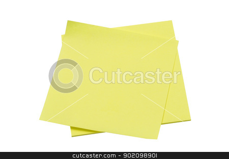 Yellow memo pape stock photo, Yellow memo paper isolated on white background by Sasas Design