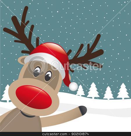 reindeer santa hat wave winter landscape stock vector clipart, reindeer with santa hat wave winter landscape by d3images