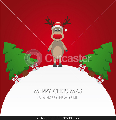 reindeer hat christmas tree and gift stock vector clipart, reindeer hat christmas tree and gift world by d3images