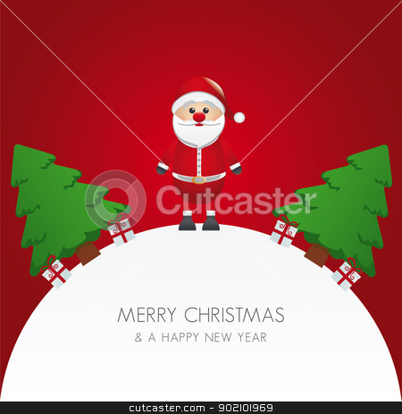 santa claus christmas tree and gift stock vector clipart, santa claus christmas tree and gift world by d3images