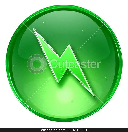 Lightning icon green, isolated on white background. stock photo, Lightning icon green, isolated on white background. by Andrey Zyk