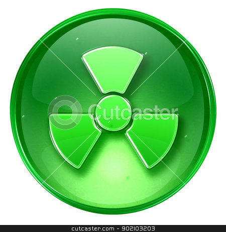 Radioactive icon green, isolated on white background. stock photo, Radioactive icon green, isolated on white background. by Andrey Zyk