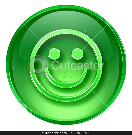 Smiley Face green, isolated on white background. stock photo, Smiley Face green, isolated on white background. by Andrey Zyk