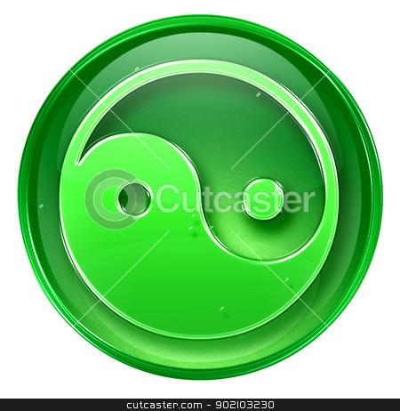 yin yang symbol icon green, isolated on white background. stock photo,  yin yang symbol icon green, isolated on white background. by Andrey Zyk