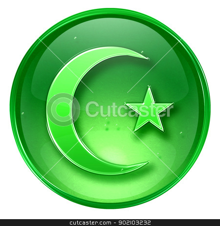 moon and star icon green, isolated on white background. stock photo, moon and star icon green, isolated on white background. by Andrey Zyk