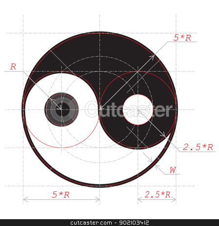 Scheme for drawing of Yin and Yang abstract symbol stock vector clipart, Scheme for drawing of Yin and Yang abstract symbol. Vector illustration. EPS-8. by Andrey Khritin