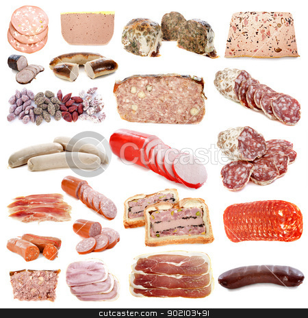 cooked meats stock photo, cooked meats in front of white background by Bonzami Emmanuelle