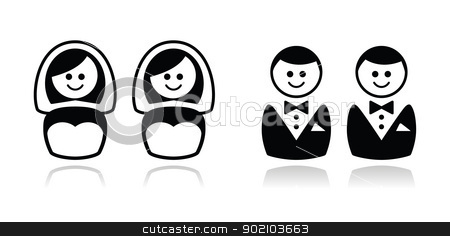 Gay / lesbian wedding  icons set stock vector clipart, Lesbian, gay marriage black icons by Agnieszka Murphy