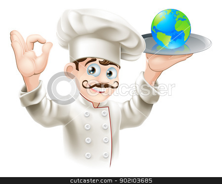 World on a plate stock vector clipart, Chef presenting world globe on a plate. Could be business concept for having the world on plate or success and opportunity or alternatively for world food or cuisine by Christos Georghiou