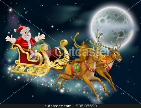 Santa and Sleigh stock vector clipart, A Christmas illustration of Santa and sled delivering gifts on Christmas Eve with the moon in the background by Christos Georghiou