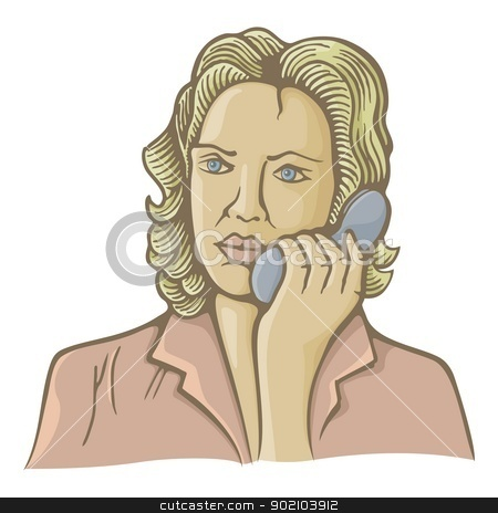 Woman on phone stock vector clipart, Old fashion illustration of woman speaking on phone. by fractal.gr