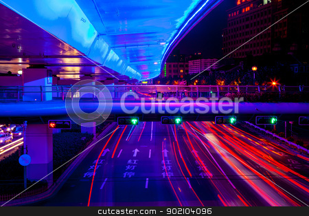 Blue Highway Street Traffic Green Red Night Light Trails Central stock photo, Blue Highway Street Traffic Cars and Green Traffic Light Red Light Trails at Night in Central Shanghai, China.  by William Perry
