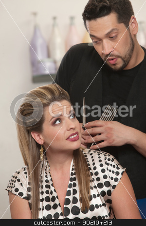 Hairdresser Talking With Client stock photo, Handsome Latino hairdresser talking with female client by Scott Griessel