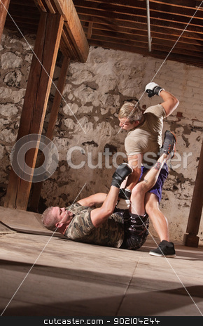 MMA Fighter Beating Opponent stock photo, Young male fighter beating opponent with punches by Scott Griessel