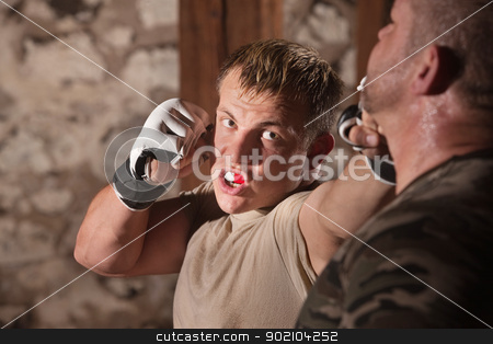Attacker Throws Jabs at Opponent stock photo, Aggressive fighter throwing jab punches at opponent by Scott Griessel