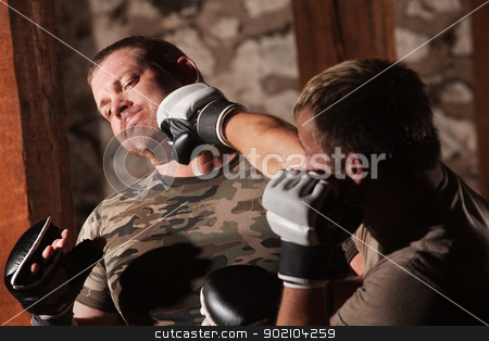 Male Fighter Hit in Jaw stock photo, Caucasian man gets hit in jaw during MMA fight by Scott Griessel