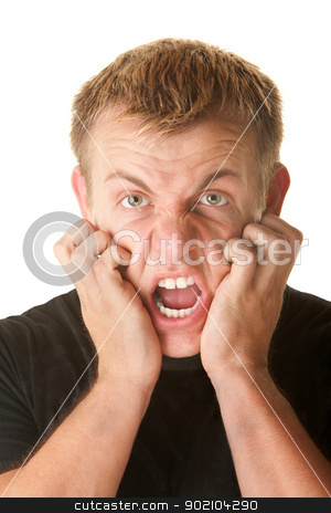 Angry Man Clawing His Face stock photo, Angry man pulling skin on face over white background by Scott Griessel