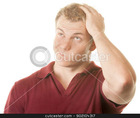 Confused Man stock photo, Confused man with hand on top of head by Scott Griessel