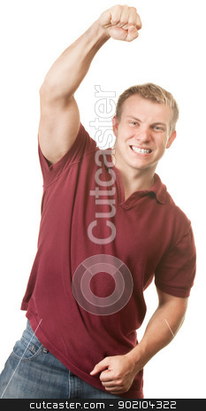 Happy Man Celebrating stock photo, Young muscular white adult male celebrating with fist in the air by Scott Griessel