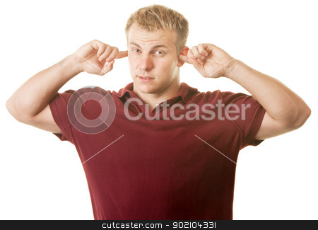 Man With Fingers in Ears stock photo, Handsome strong young man with fingers in ears by Scott Griessel