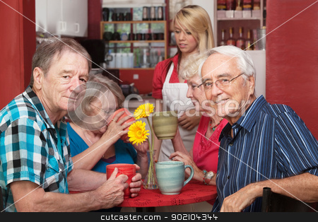 Mature Cafe Patrons stock photo, Cheerful group of senior citizens in cafe ordering drinks by Scott Griessel