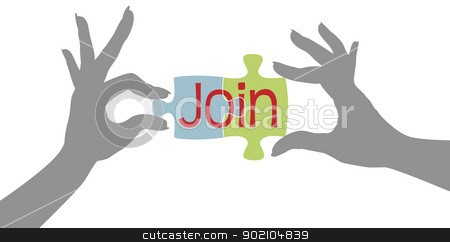 Member hands Join together puzzle stock vector clipart, Female hands connect jigsaw puzzle pieces to join organization by Michael Brown
