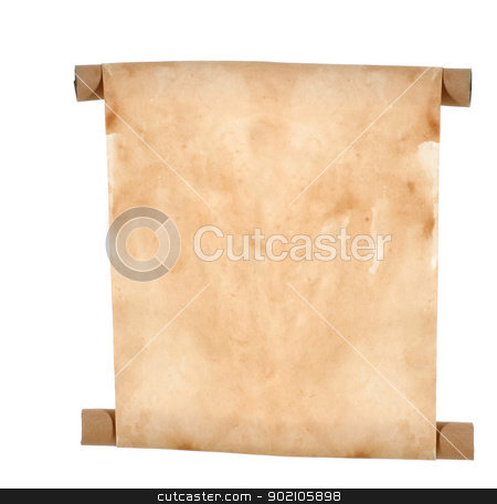 paper scroll stock photo, paper scroll - blank paper scroll isolated on white background by John McAllister