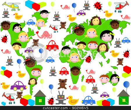Persons of children of different races on the map of the world with toys stock photo, Persons of children of different races on the map of the world with toys by tanu666a