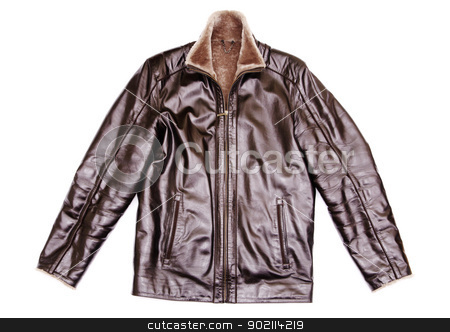 leather jacket stock photo, black leather jacket isolated on white background by Vitaliy Pakhnyushchyy