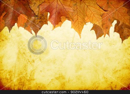 autumn leaves stock photo, grunge background with space for text or image by Vitaliy Pakhnyushchyy