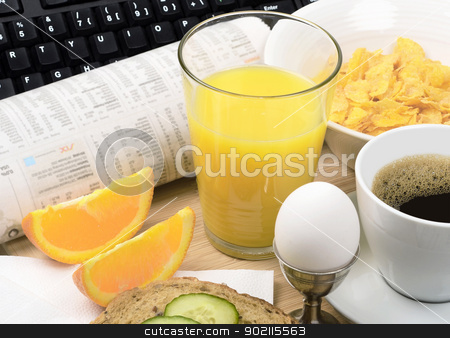 Breakfast stock photo, A good vitamin rich breakfast and a computer and newspaper by Preartiq