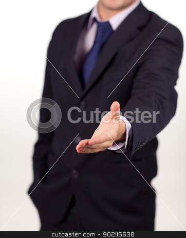 businessman showing a handshake to the camera stock photo, Businessman introducing himself in a positive manner by Wavebreak Media