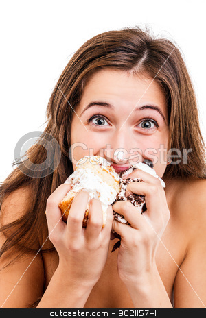 Teen girl  stock photo, Teen girl eating the cake  by Grafvision