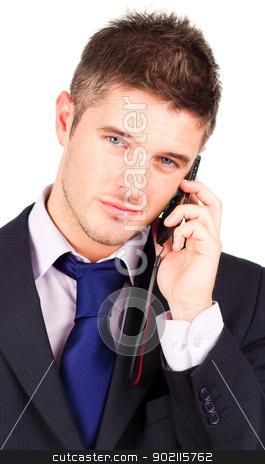 businessman talking on phone  stock photo, Young attractive businessman talking on his cellphone by Wavebreak Media