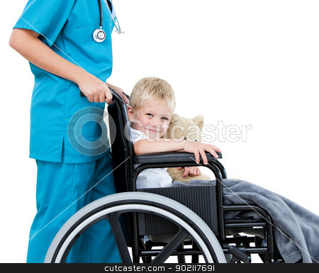 Bright female doctor carrying adorable little boy with his teddy stock photo, Bright female doctor carrying adorable little boy with his teddy bear in the wheelchair at the hospital by Wavebreak Media