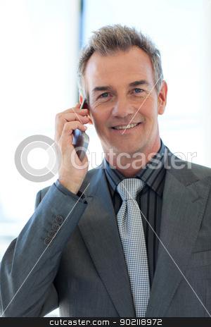 Mature businessman talking on phone stock photo, Mature businessman talking on phone in office by Wavebreak Media