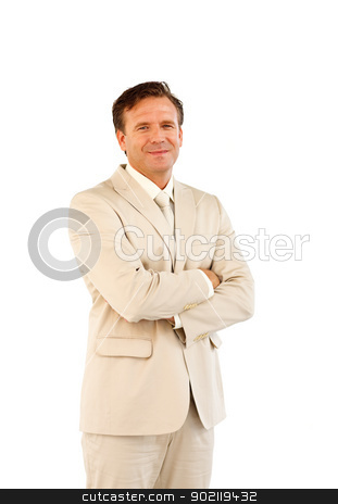 Confident manager looking straight ahead stock photo, Confident manager with folded arms looking straight ahead by Wavebreak Media