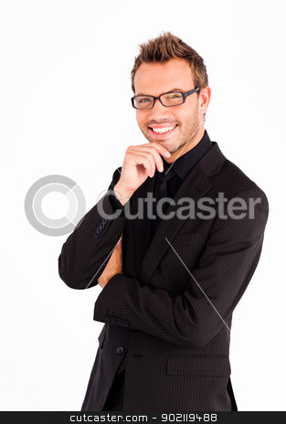 Happy businessman with glasses looking at the camera  stock photo, Happy businessman with glasses and crossed arms looking at the camera  by Wavebreak Media