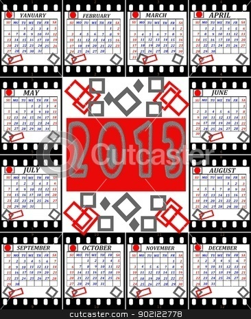 A calendar on 2013 is English executed as shots on a film stock photo, A calendar on 2013 is English executed as shots on a film by tanu666a